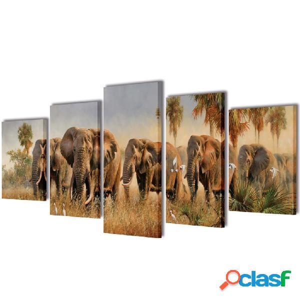 Set decorativo de lienzos para la pared modelo elefantes,
