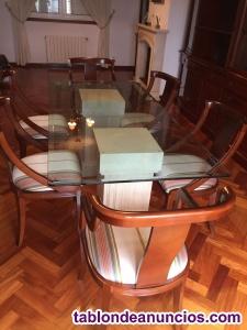 Conjunto de mesa de cristal + 6 sillas en perfecto estado