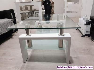 Se vende mesa de centro blanca y cristal templado