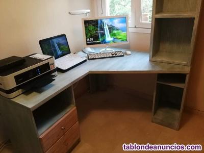 Mesa escritorio esquinera con mueble librero a conjunto
