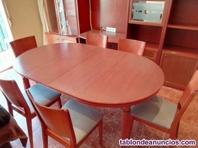 Mesa salon + 6 sillas de madera caoba
