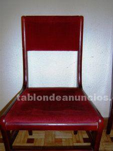 Juego de sillas vintage de terciopelo rojo