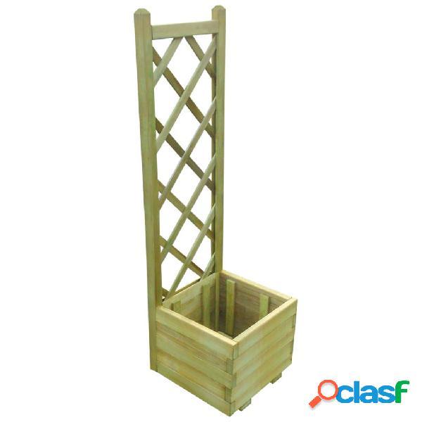Jardinera con enrejado madera impregnada FSC 40x40x135 cm