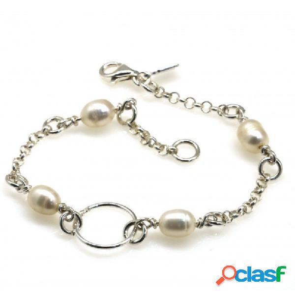 Pulsera de comunión en plata de ley con perlas