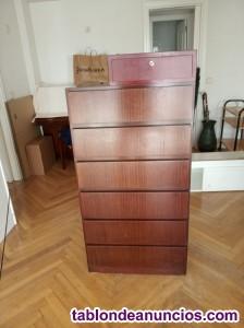 Cómoda de 6 cajones de madera maciza