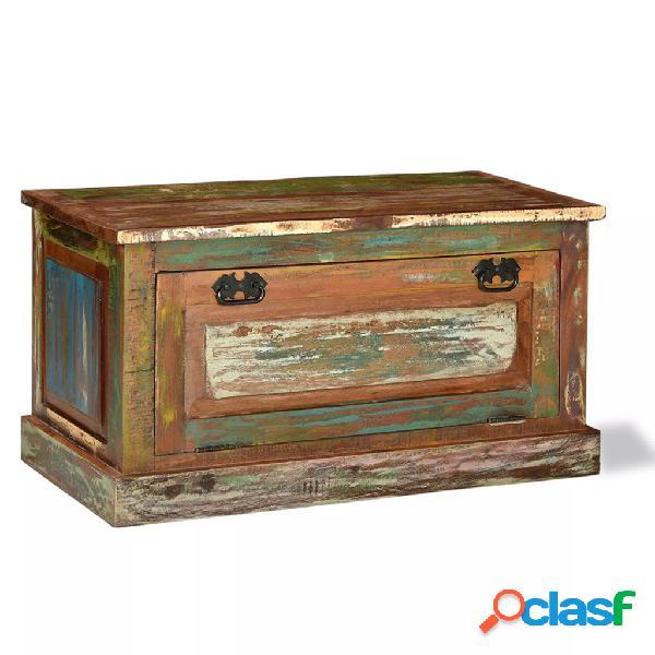 Banco zapatero de madera maciza reciclada