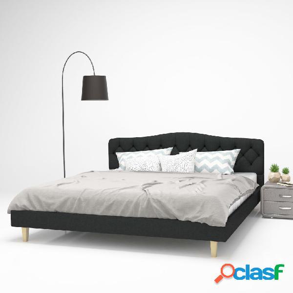 Cama con colchón 180x200 cm tela gris oscuro