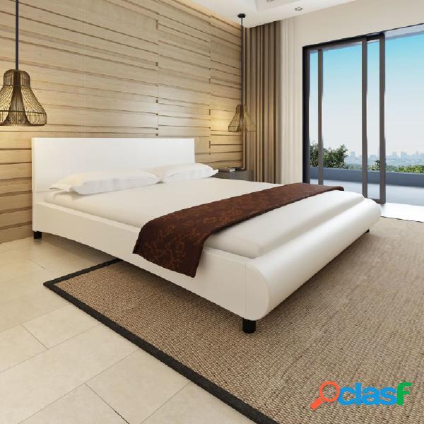 Cama con colchón de cuero artificial blanca 180x200 cm