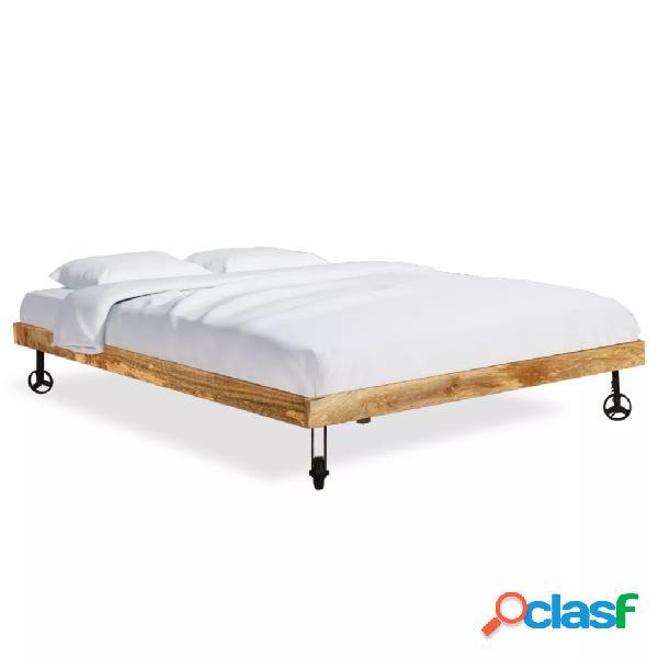 Cama con colchón de madera de mango rugosa 180x200 cm