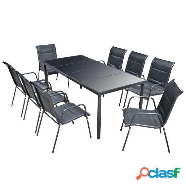 Conjunto de muebles de comedor para jardín 9 piezas negro