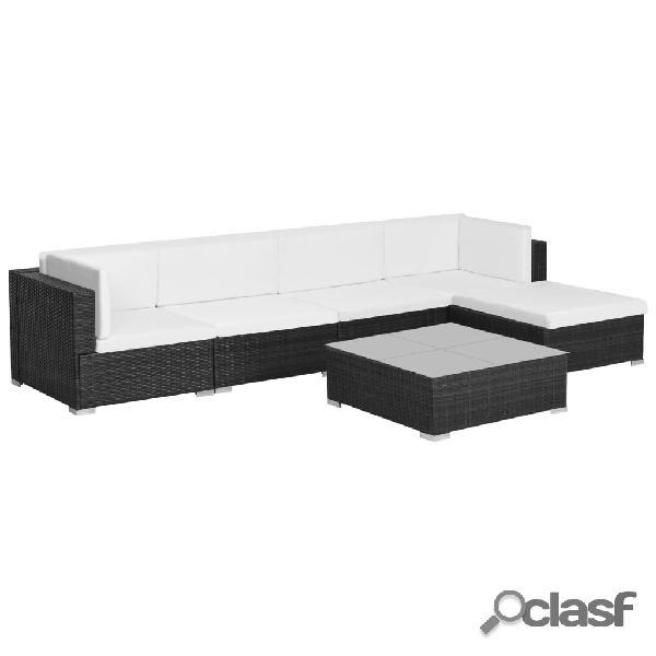 Conjunto de sofás de jardín de ratán sintético negro 17