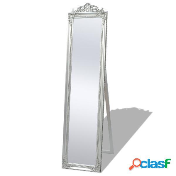 Espejo de pie estilo barroco 160 x 40 cm plateado
