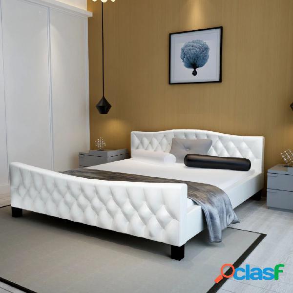 Estructura de cama 140x200 cm cuero artificial blanca