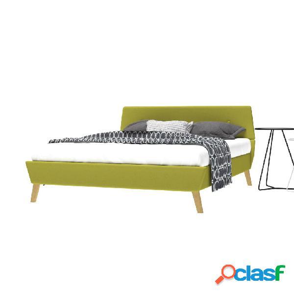 Estructura de cama de tela con somier 140x200 cm verde