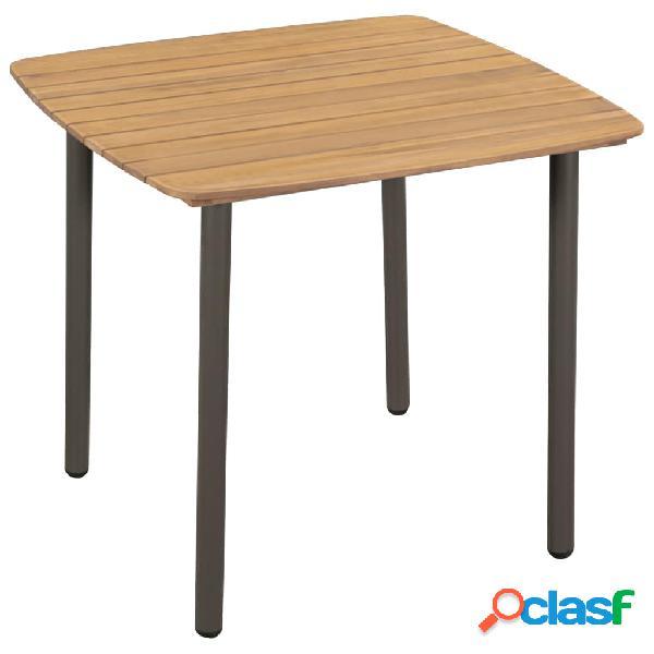 Mesa comedor jardín madera maciza de acacia y acero