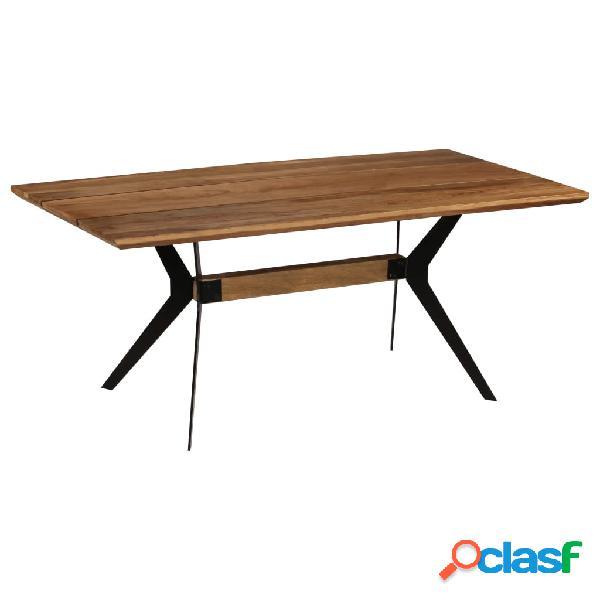 Mesa de comedor de madera de acacia maciza y acero 180x90x76