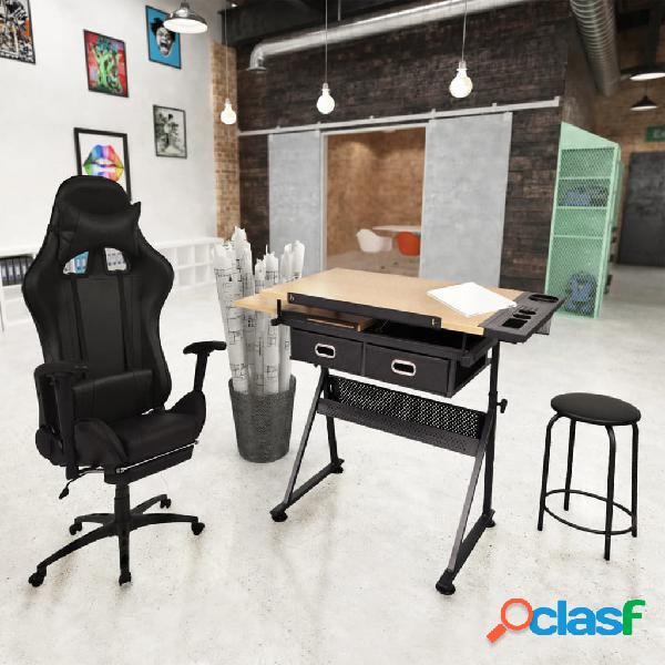 Mesa de dibujo inclinable con silla de oficina