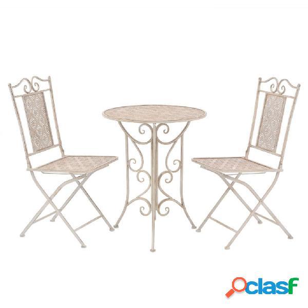 Mesa y sillas bistro de jardín 3 piezas blanco de acero