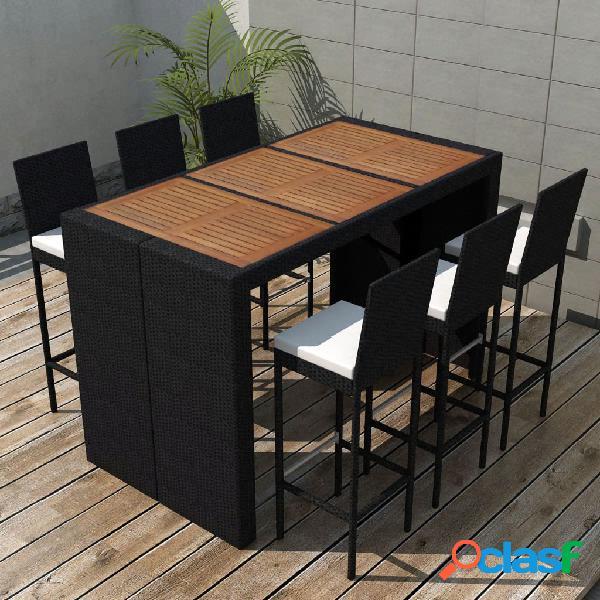 Muebles de bar de jardín 13 piezas poli ratán y madera