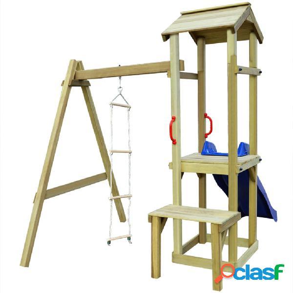Parque infantil con tobogán y escalera de madera FSC