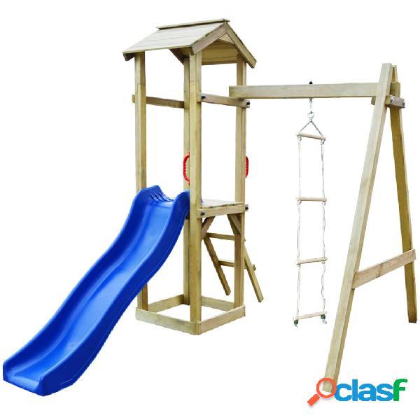 Parque infantil con tobogán y escaleras de madera FSC