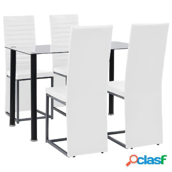 Set de comedor 5 piezas acero y vidrio templado blanco y