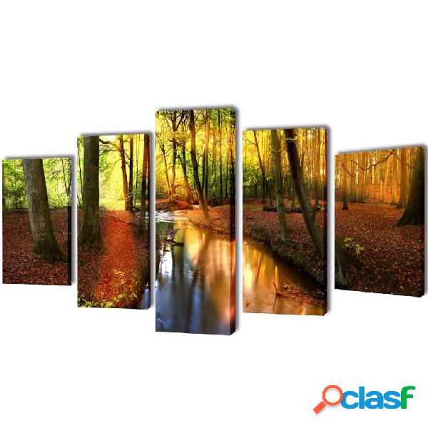 Set decorativo de lienzos para la pared modelo bosque, 200 x