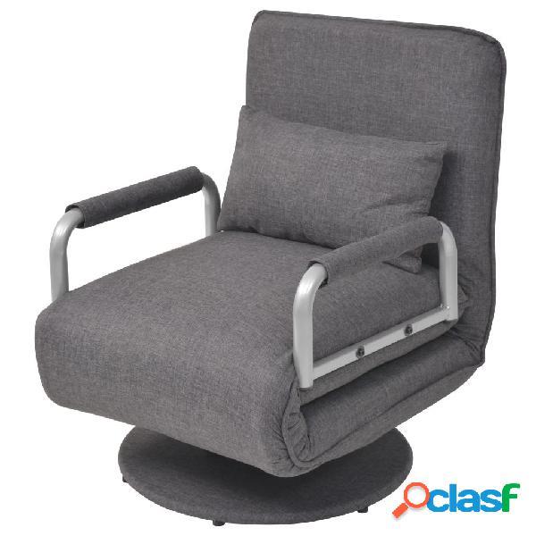 Silla giratoria y sofá cama color gris oscuro 60x75x80 cm