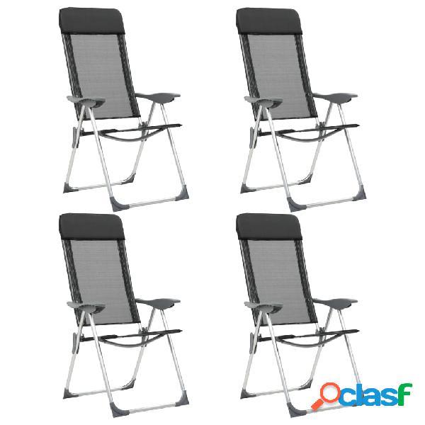 Sillas de camping plegables de aluminio 4 unidades negro