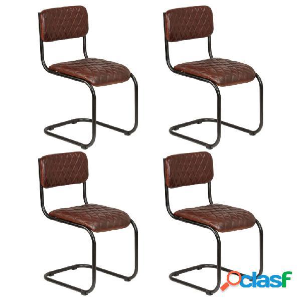 Sillas de comedor 4 unidades cuero auténtico marrón