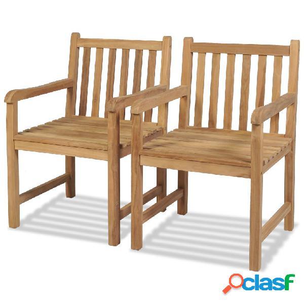 Sillas de exterior de madera de teca 2 unidades 58x60x90 cm