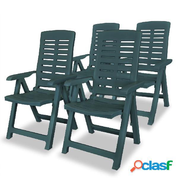 Sillas de jardín reclinables 4 uds plástico verde