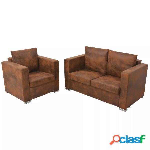 Conjunto de sofás de 2 piezas de piel de ante artificial