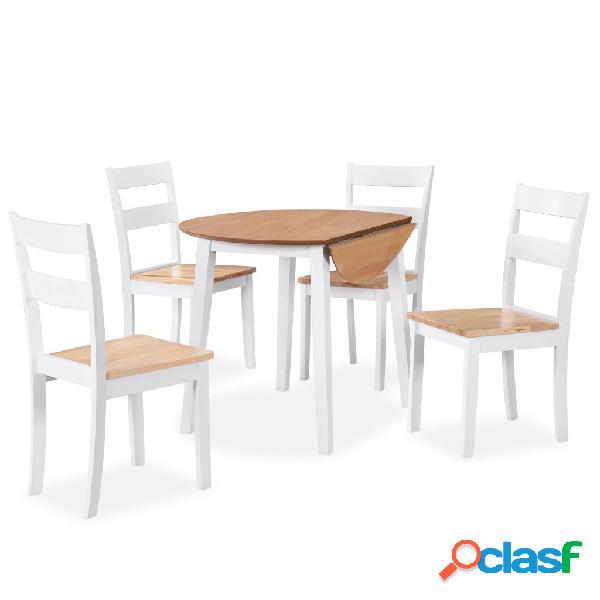 Juego de comedor de MDF y madera de caucho 5 piezas blanco