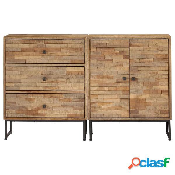 Conjunto de aparador de 2 piezas de madera de teca reciclada