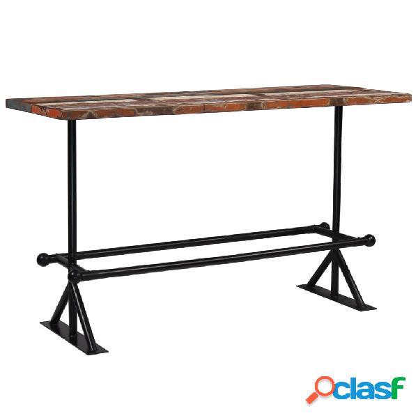 Mesa de bar de madera maciza reciclada multicolor 180x70x107