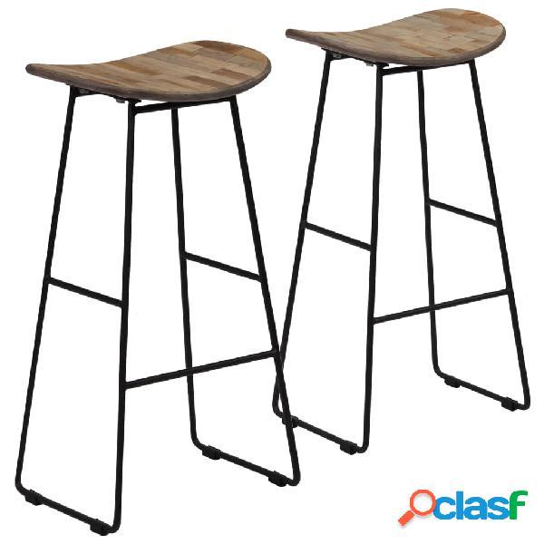 Sillas de bar de madera de teca reciclada 41x30x74 cm 2 uds