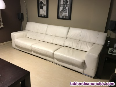 Sofá de piel blanco modelo fuji de pielmart