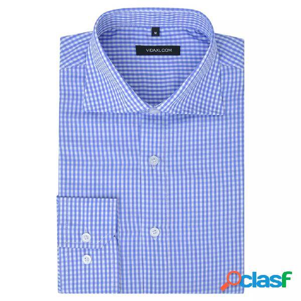 Camisa de vestir de hombre a cuadros blanca y azul claro M