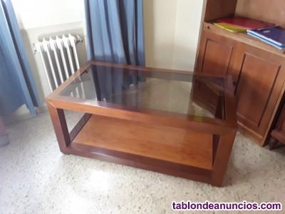 Mueble de centro de madera de olivo macizo.