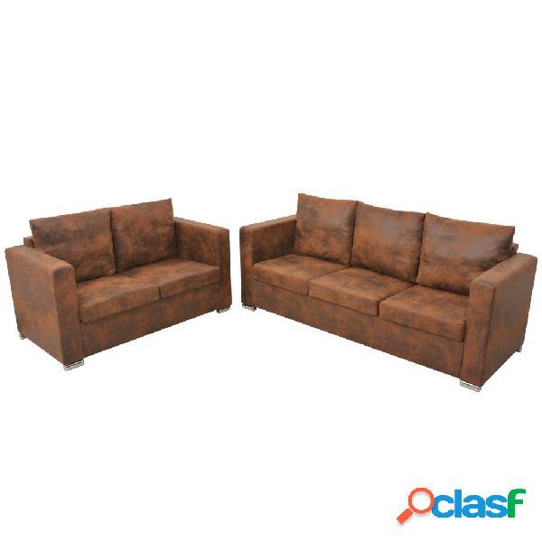 Conjunto de sofás de 2 piezas de piel artificial de ante