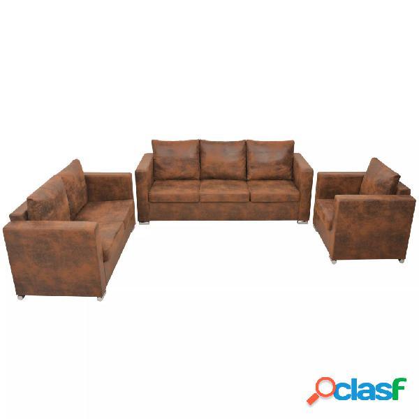 Conjunto de sofás de 3 piezas de piel artificial de ante