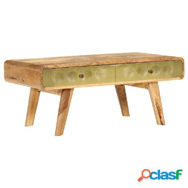 Mesa de centro de madera de mango maciza 90x50x40 cm