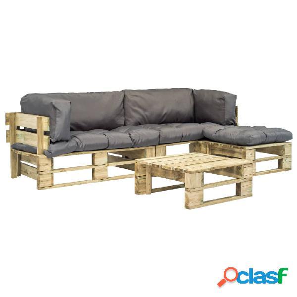 Set sofás de jardín de palés 4 pzas cojín gris madera
