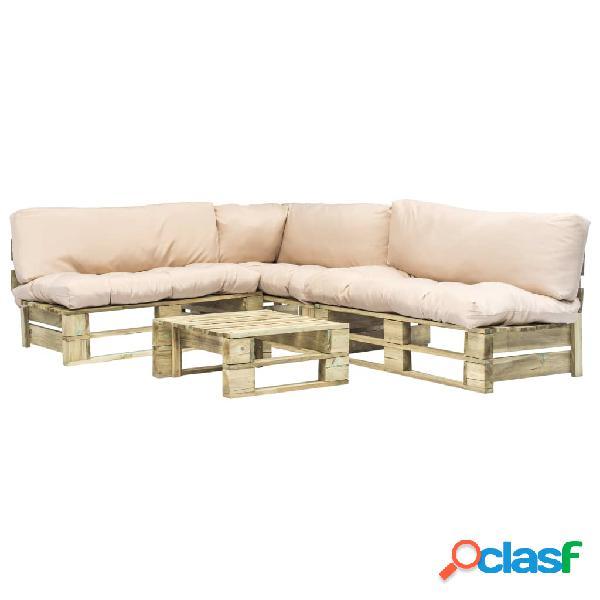 Set sofás jardín de palés cojín arena madera FSC verde 4