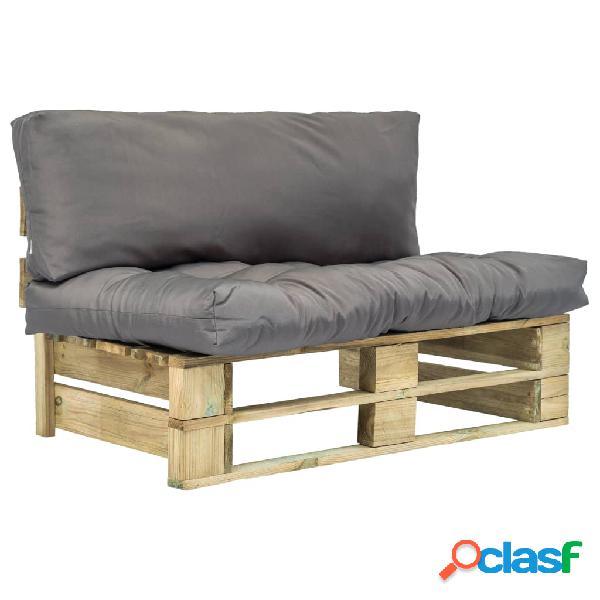 Sofá de jardín de palés cojines grises madera FSC verde