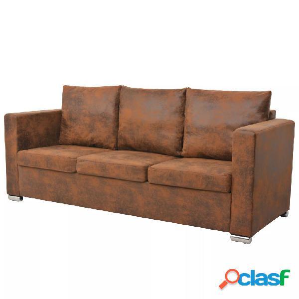 Sofa de 3 plazas 191x73x82 cm piel de ante artificial