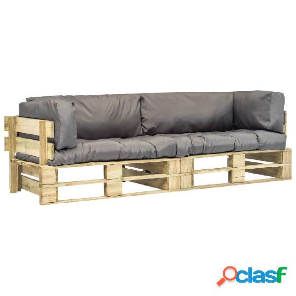 Sofás de jardín de palés 2 uds cojines grises madera FSC