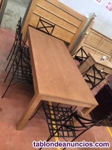 Comedor roble + sillas forja
