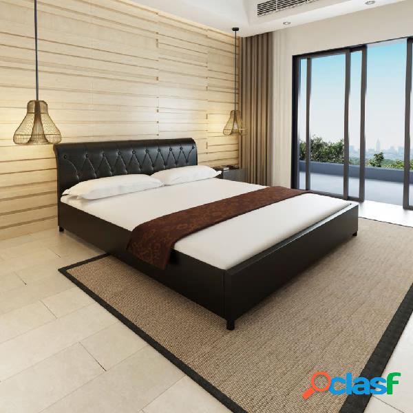 Cama doble con colchón cuero artificial negra 180x200 cm